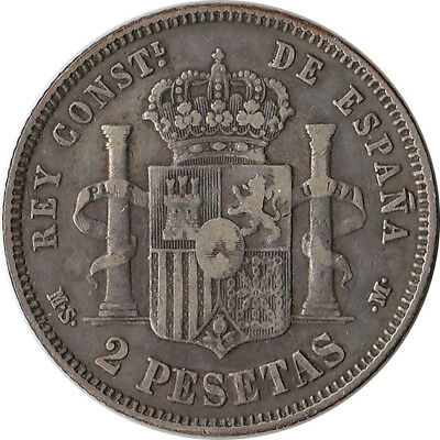 1882 (82) Spain 2 Pesetas Silver Coin Alfonso XII KM#678.2