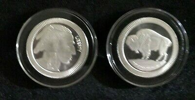 1 oz BUFFALO .999 SILVER ROUND W/RIDGES MOUNTED IN AIR TITE HOLDER WITH RING