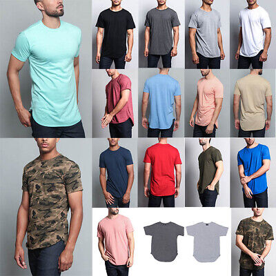 2817ccc0dcb51 Victorious Men s Hipster Solid Color Long Length Curved Hem T-Shirt  TS270-K21A