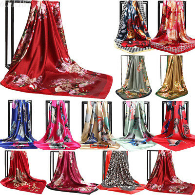 Women's Hijab Scarf Floral Silk Square Shawl Head Wraps Muffler Cape Stole Lot