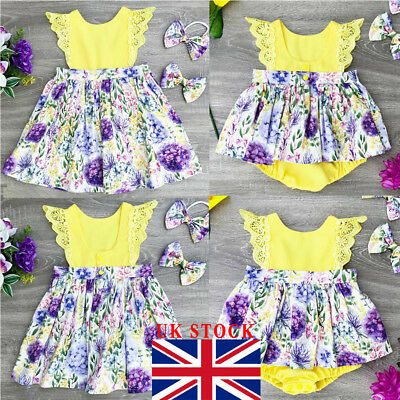 UK Kids Baby Girls Sister Matching Floral Jumpsuit Romper Dress Outfits Clothes