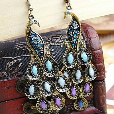 1 Pair Women Vintage Bohemian Boho Style Peacock Drop Hook Earrings Jewelry Wort