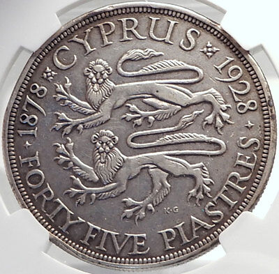 1928 CYPRUS 50th Anniversary UK King George V Silver 45 Piastres Coin NGC i70015