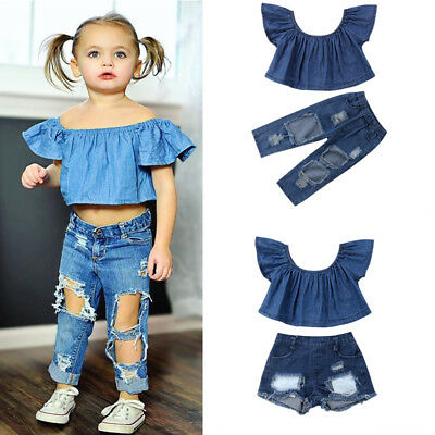 US Toddler Kids Baby Girls Off Shoudler Tops Denim Pants Jeans Outfits Clothes
