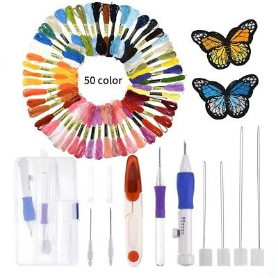 Magic DIY Embroidery Pen Knitting Sewing Tool Kit Punch Needle Set + 50 Threads