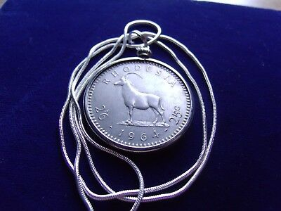 "1964 Southern Rhodesia Horned Sable Antelope Pendant on a 28"" Silver snake Chain"