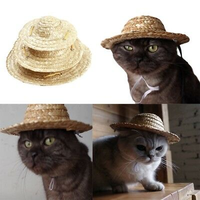 Pet Cat Puppy Dog Straw Hat Adjustable Buckle Costume Ornament For Small  Animal 1dc794b36c2f
