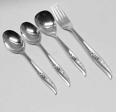 International Silver 1847 Rogers Bros MAGIC ROSE (4 Pieces Lot) 1963 Flatware