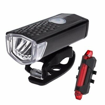 Cycling Bicycle LED Lamp USB Rechargeable Bike Head Front Torch & Tail Light Set
