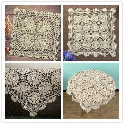 Vintage Crochet Flower Tablecloth Handmade Cotton Lace Square Table Cover Cloth