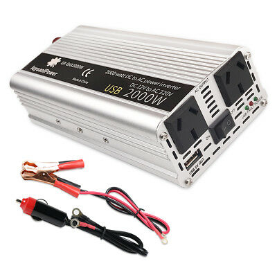 2000W Power Inverter 12V to 240V with 3.1A USB+2 Sockets+Car Cable-Boat Camping