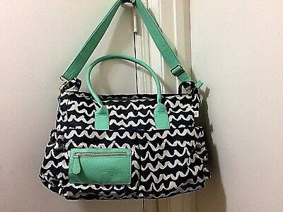 Oh Joy! Scallop Pattern Tote Diaper Bag w Changing pad teal blk white shoulder