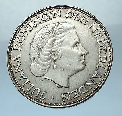 1962 NETHERLANDS Queen JULIANA 2 1/2 Gulden 3.3cm BIG SILVER Dutch Coin  i68227