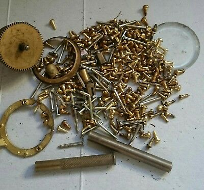 Clock screws assorted BRASS for movements cases bells and a few clock bits
