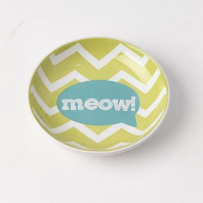 Cat Saucer Dish - Meow! Lime Green