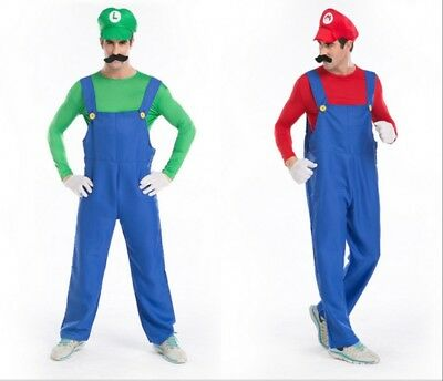 Adult Men Super Mario Luigi Bros Plumber Fancy Dress Party Cosplay Costume new