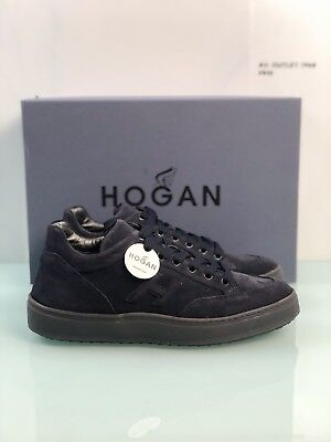 Hogan Uomo Sneaker H302 Mid Cut in camoscio Blu Denim