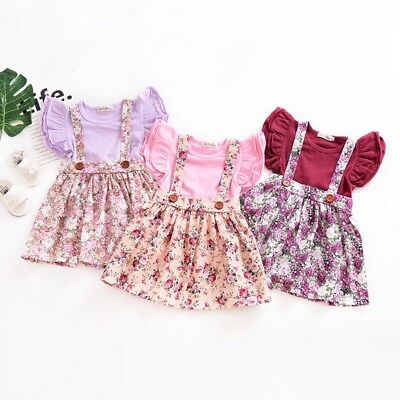 Toddler Kids Baby Girl Floral Suspender Skirt Overalls Dress Outfit Clothes 0-4Y