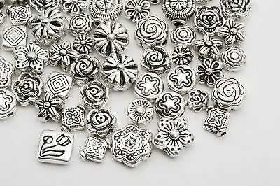 Wholesale Mixed Charms 80pcs Tibetan Silver Flower Spacer Beads For Jewelry DIY