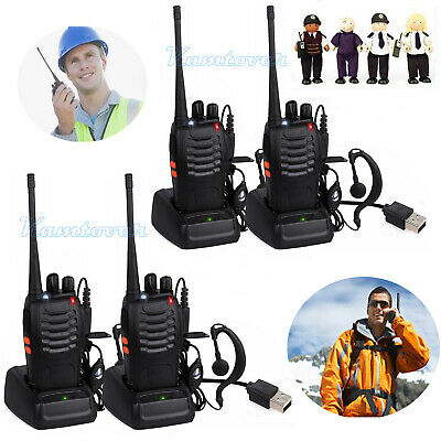 4x BAOFENG BF-888S Walkie Talkies UHF400-470 MHz Handheld Two Way Radio earpiece