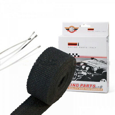 """Black Heat TURBO Exhaust Thermal Wrap Tape With Stainless Ties 2"""" X 10 meters"""