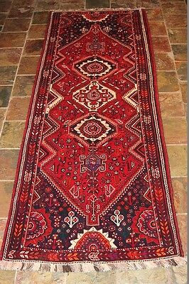 """Nomadic Patterns"" 305x111 Excellent Quality Qashqai Tribal Persian Rug Runner"