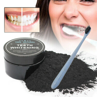 Carbon Coco Organic Teeth Whitening Powder Coconut Charcoal Tooth & Toothbrush