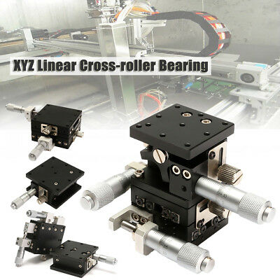 XYZ 3 Axis Linear Stage Cross-Roller Bearing Platform Sliding Table Hand Tool