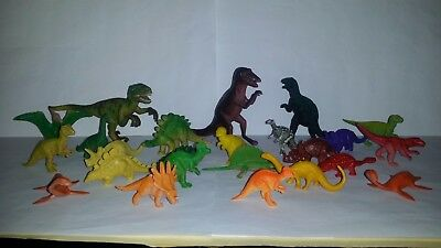 Mixed Lot Of 24 Plastic Toy Dinosaur Figures