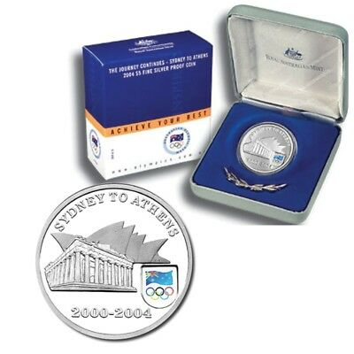 2004 $5 Sydney to Athens Olympics Silver Proof Coin - $34.95