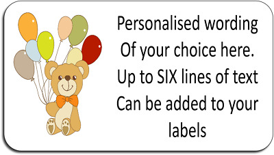 Birthday Teddy Bear Personalised Self Adhesive Labels + FREE protective wallet