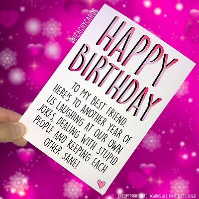 Funny Best Friend Birthday Card Greeting Cards Happy Birthday Banter Laugh PC406