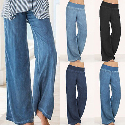 AU8-24 Womens Elastic Waist Denim Look Trouser Long Flare Wide Leg Pants Palazzo