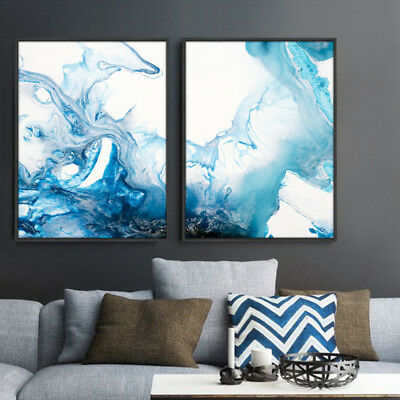 2 Piece Wall Prints Digital Blue Water Splash Watercolor Canvas Art Unframed