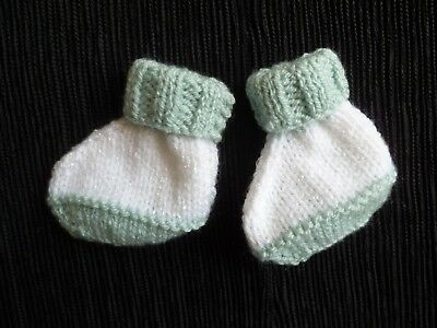 Baby clothes BOY premature/tiny<7.5lbs/3.4kg white/grey-green bootees SEE SHOP!