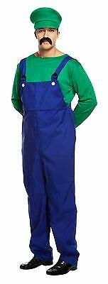 Adult Mens Super Mario Bros Plumber Workman 80s Game Fancy Dress Free Moustache