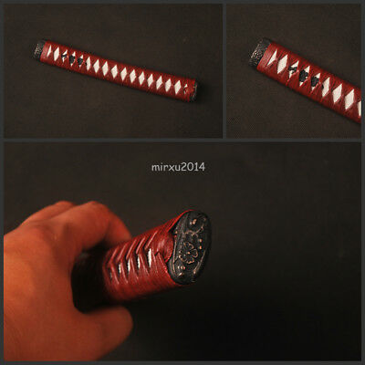Dark red synthetic leather hardwood tsuka with alloy fittings for katana sword