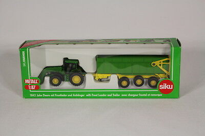 Siku SK1843 John Deere with Front Loader and Trailer, 1:87 Scale.