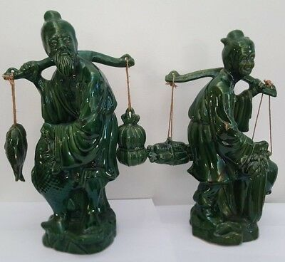 Pair Green Majolica Oriental Figurines - Fisherman