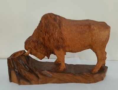 Buffalo Wood Carving - American ?