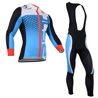 WL448 New Cycling Winter Thermal Fleece long sleeve jersey 3D GEL PAD Bib Pants