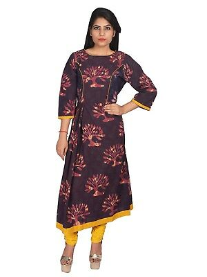 Women Long Kurta Handblock Printed Cotton Brown Kurti Side Pocket Top Tunic