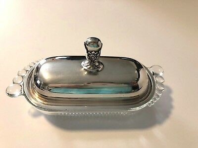 International Rogers Bros 1847 Line Glass Bottom Silver Plated Top Butter Dish