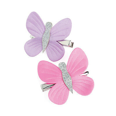Pack of 2 Lilac and Pink Butterfly Hair Clips Girls Beak Clips Hair Accessory