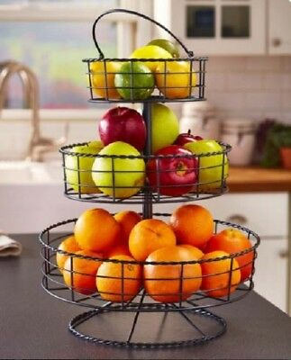 Fruit Basket Stand Tiered Holder 3 Tier Kitchen Rustic Farmhouse Wire  Storage