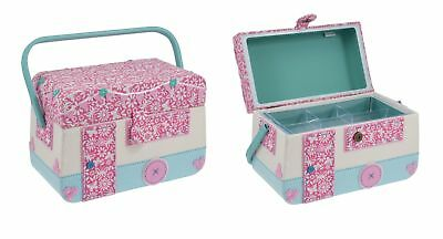 Large Caravan Design Sewing Basket Sewing Box - HobbyGift - Gift