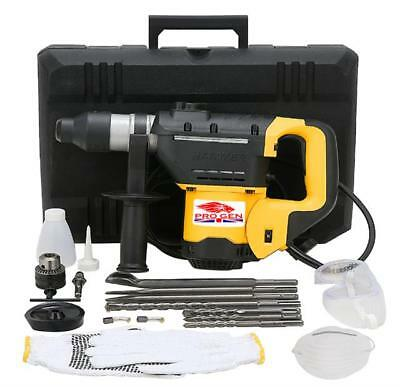 Progen Top Quality 1200W Rotary 4 IN 1 SDS Hammer Drill 230V & Chisels in Case