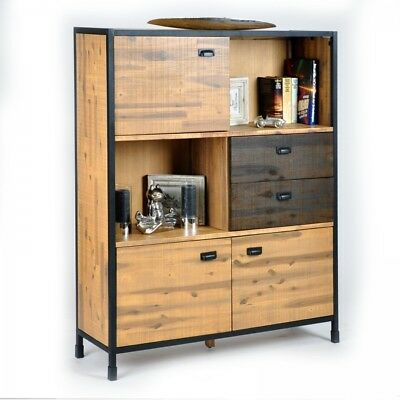 Highboard Schrank Anrichte Kommode Industrial Look Akazie Massiv
