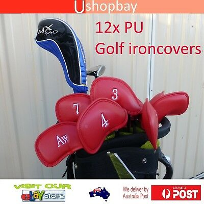 Golf Iron Club Protective Covers PU Leather x12pcs Match Bags & Cart