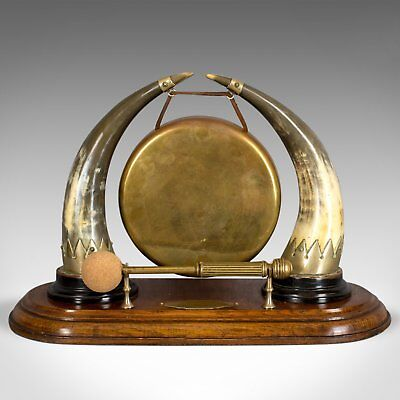 Antique Dinner Gong, English, Edwardian, Table, Oak Plinth, Circa 1910